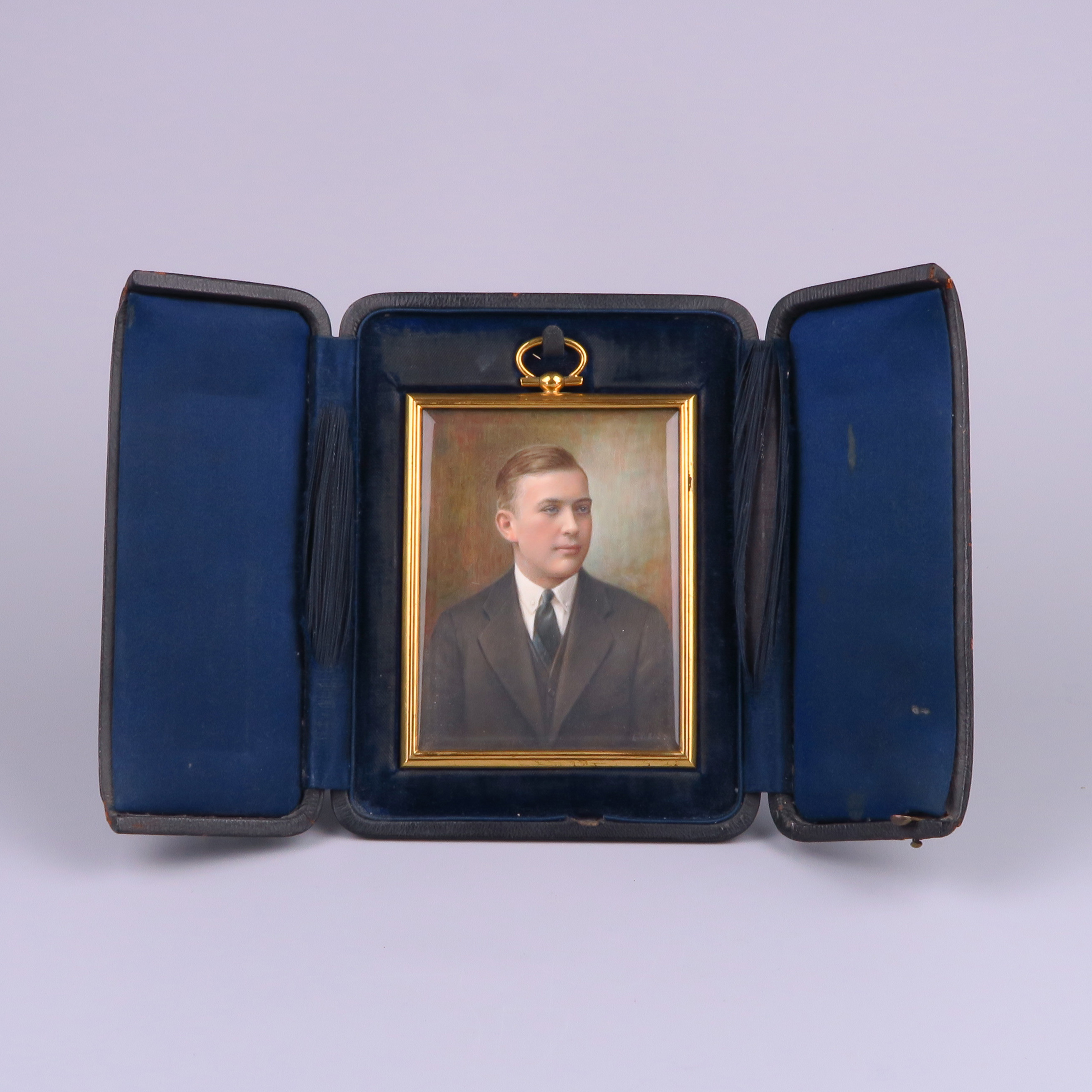 Painted Miniature of a Man Signed L. Weiss circa 1920